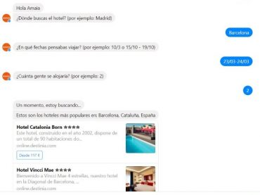 Looking for a hotel? Destinia's chatbot in Facebook Messenger can help you find one